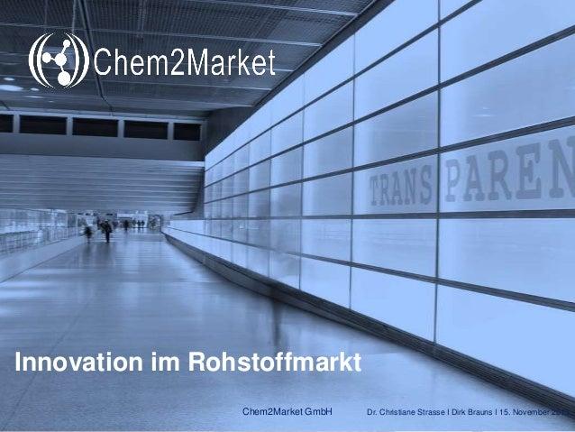 Innovation im Rohstoffmarkt Chem2Market GmbH  Dr. Christiane Strasse I Dirk Brauns I 15. November 2013