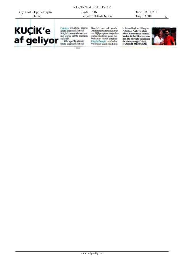 Basında Bugün Göztepe 16.11.2013