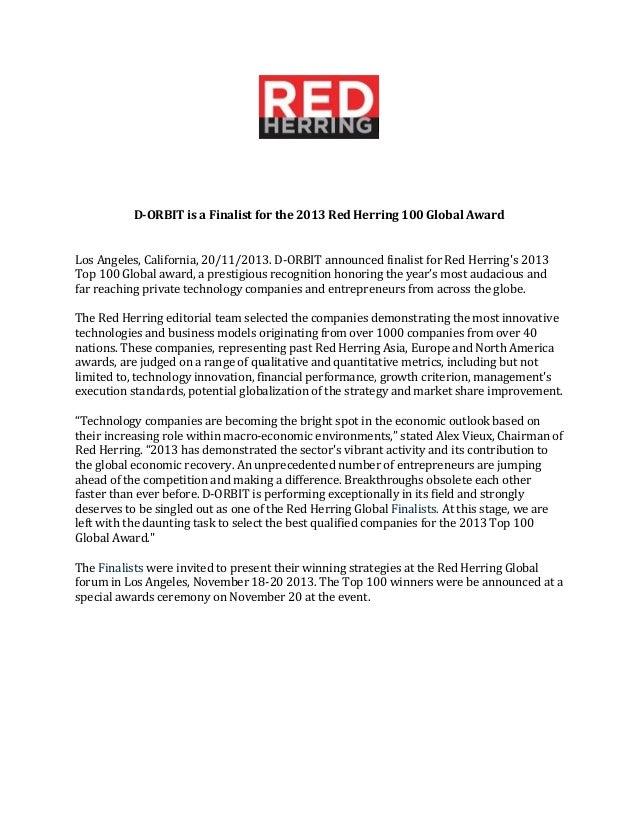 D-Orbit a Red Herring Global Winner
