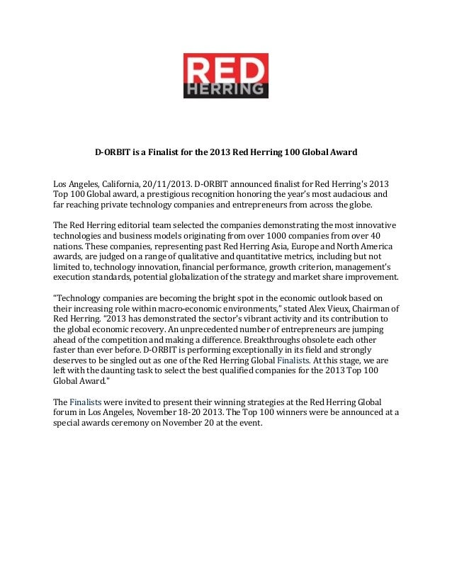 D-Orbit a Red Herring Global Winner