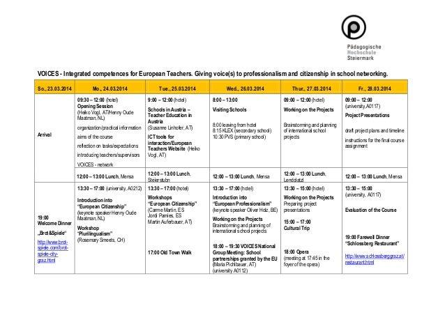 In-Service Course Graz 2014: VOICES -  Integrated competences for European Teachers. Programme