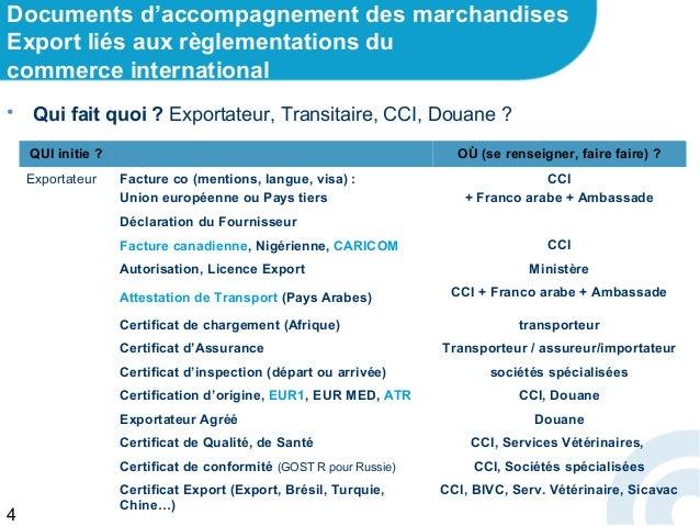 Pr sentation ppt documents d 39 accompagnement export - Certificat d origine chambre de commerce ...