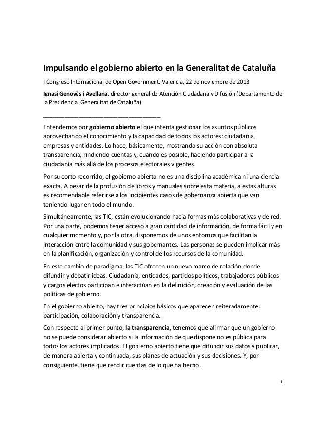 Impulsando el gobierno abierto en la Generalitat de Cataluña