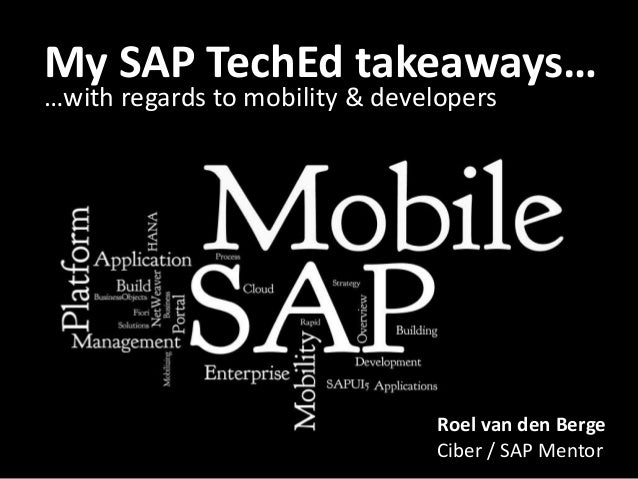 My SAP CODING INtakeaways… KEEP ON TechEd THE FREE …with regards to mobility & developers  WORLD!  Roel van den Berge Cibe...