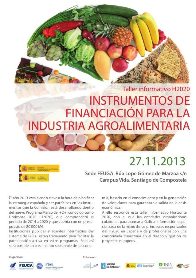 Taller informativo H2020  INSTRUMENTOS DE FINANCIACIÓN PARA LA INDUSTRIA AGROALIMENTARIA 27.11.2013 Sede FEUGA. Rúa Lope G...