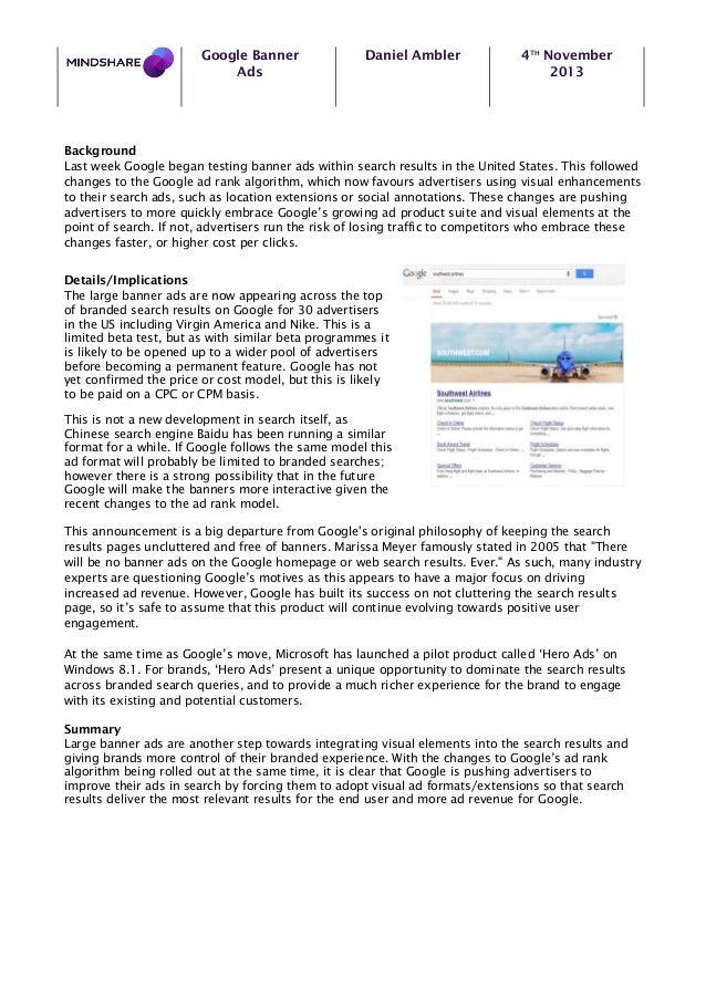 Google Banner Ads  Daniel Ambler  4TH November 2013  Background Last week Google began testing banner ads within search re...