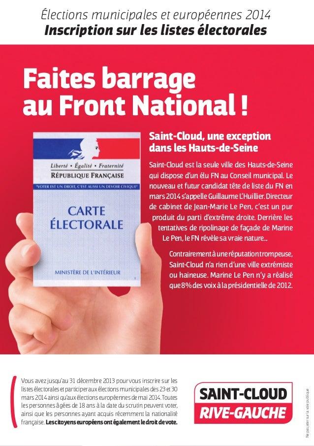 Élections municipales et européennes 2014  Inscription sur les listes électorales  Faites barrage au Front National ! Sain...