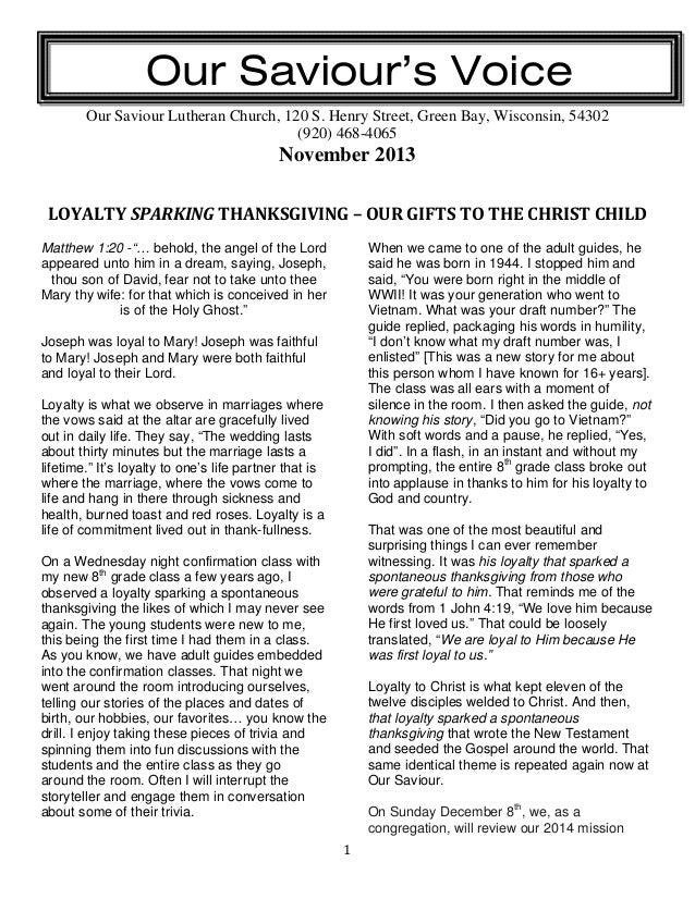 Our Saviour's Voice Our Saviour Lutheran Church, 120 S. Henry Street, Green Bay, Wisconsin, 54302 (920) 468-4065  November...
