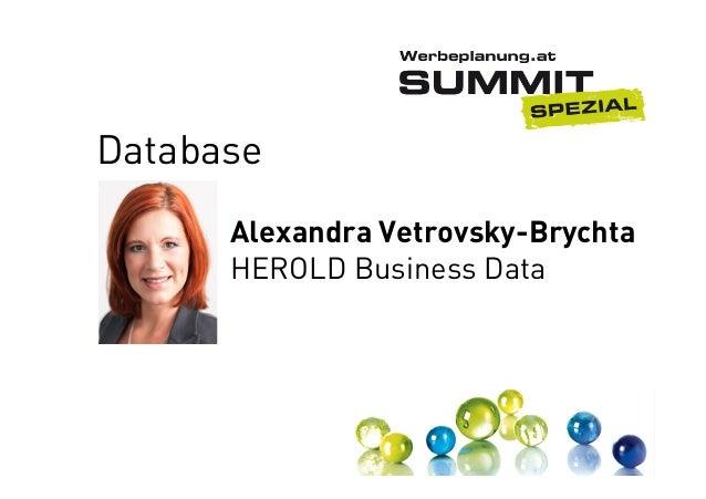 Database Alexandra Vetrovsky-Brychta HEROLD Business Data