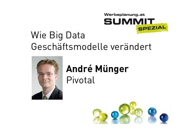 Wie Big Data Geschäftsmodelle verändert André Münger Pivotal
