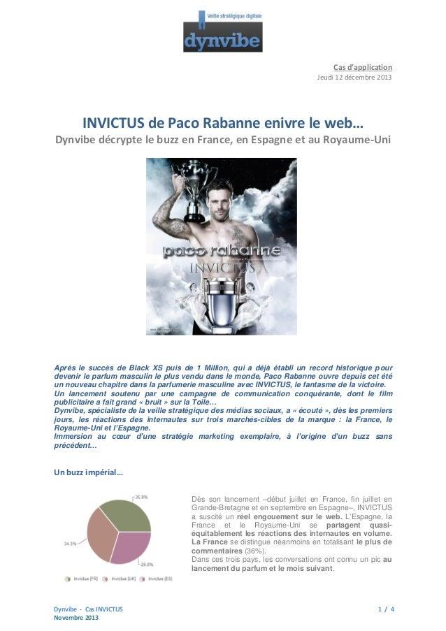 Cas d'application Jeudi 12 décembre 2013  INVICTUS de Paco Rabanne enivre le web… Dynvibe décrypte le buzz en France, en E...