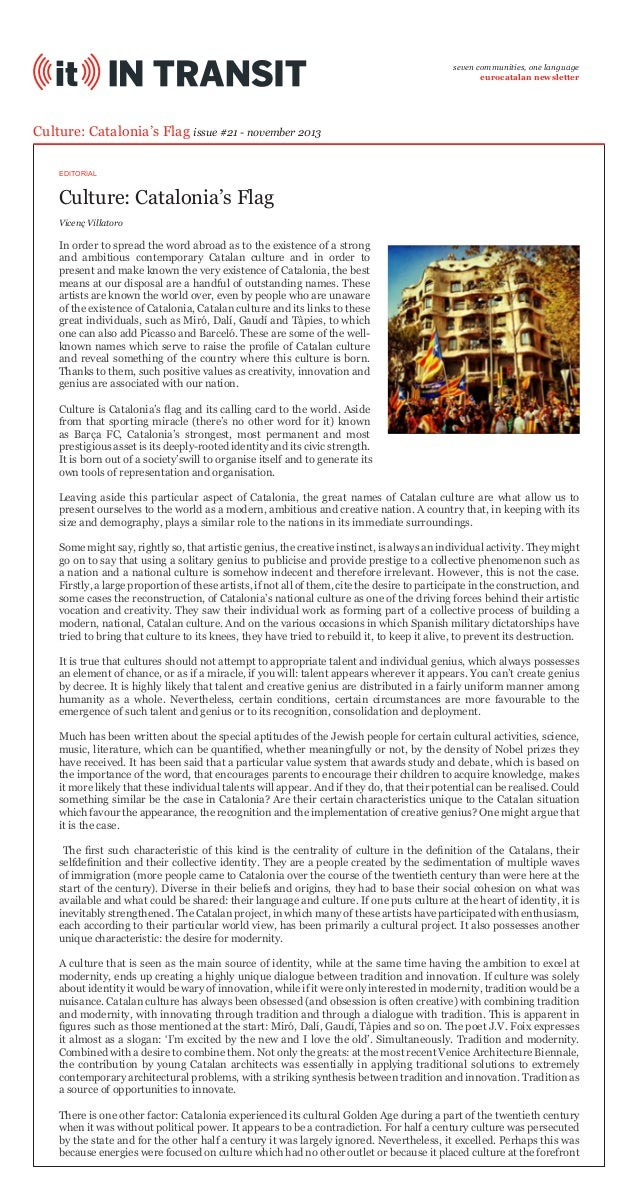 seven communities, one language eurocatalan newsletter  Culture: Catalonia's Flag issue #21 - november 2013 EDITORIAL  Cul...