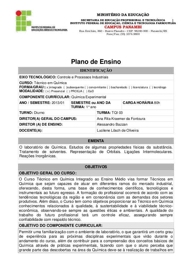 MINISTÉRIO DA EDUCAÇÃO SECRETARIA DE EDUCAÇÃO PROFISSIONAL E TECNOLÓGICA 1 INSTITUTO FEDERAL DE EDUCAÇÃO, CIÊNCIA E TECNOL...