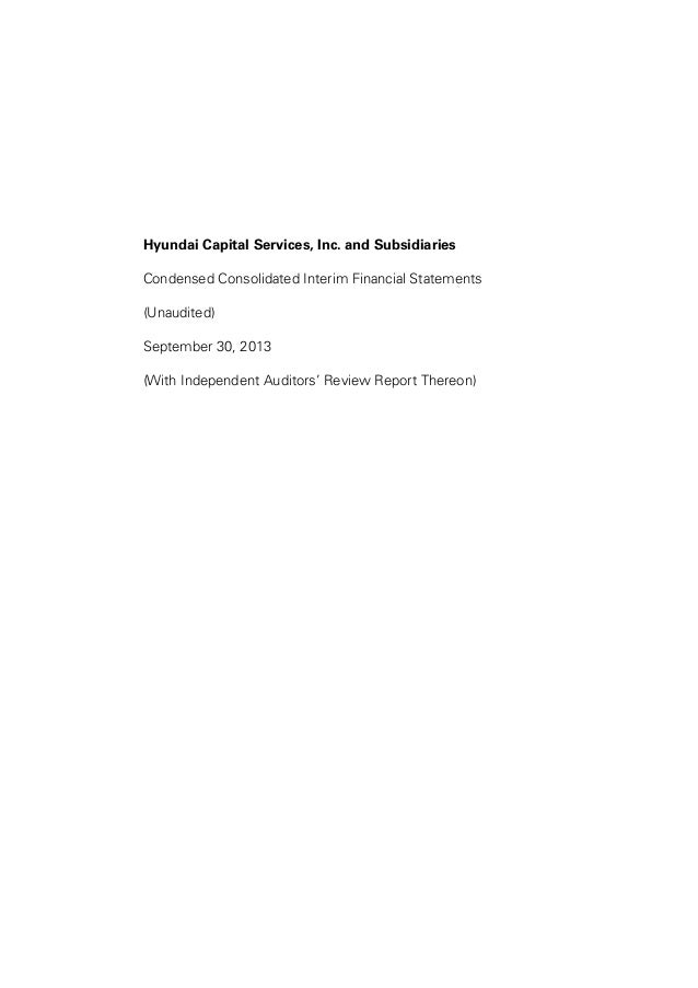 Hyundai Capital Services, Inc. and Subsidiaries Condensed Consolidated Interim Financial Statements (Unaudited) September ...