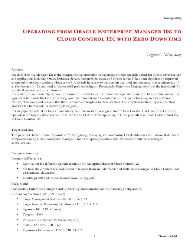 UPGRADING FROM ORACLE ENTERPRISE MANAGER 10G TO CLOUD CONTROL 12C WITH ZERO DOWNTIME