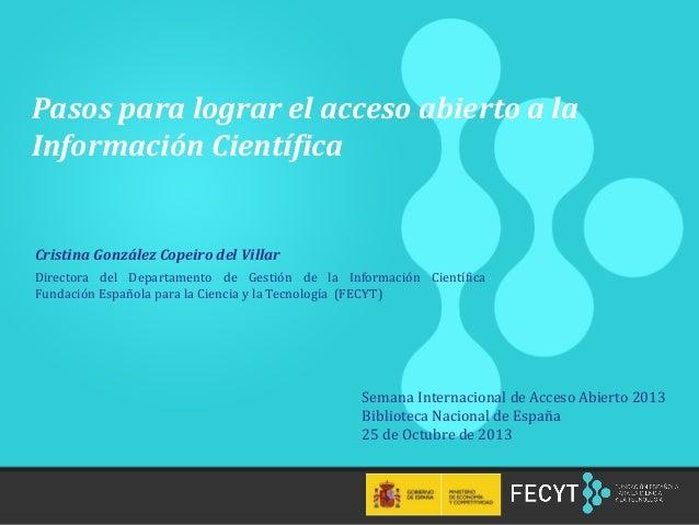 Pasos para lograr el acceso abierto a la Información Científica  Cristina González Copeiro del Villar Directora del Depart...