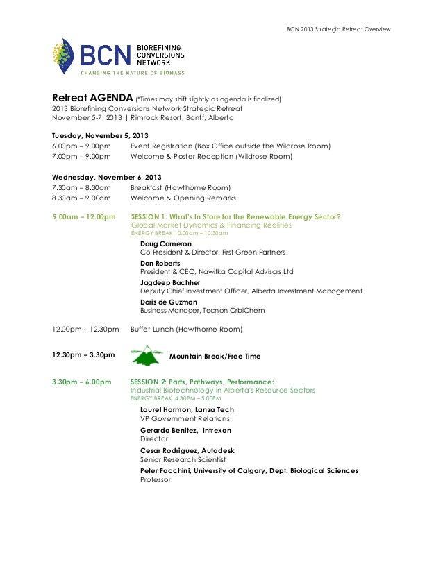 2013 BCN Retreat Agenda