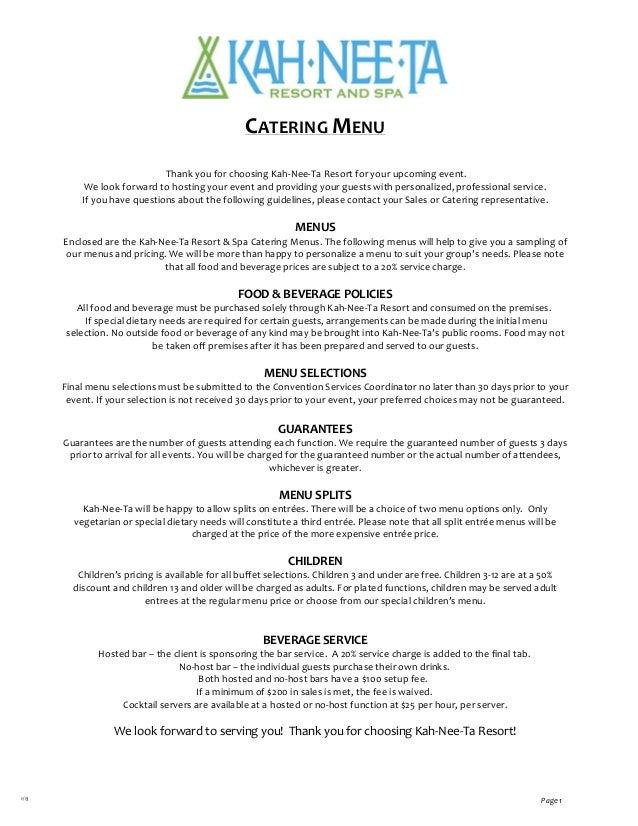       1/13 Page1  CATERINGMENU  ThankyouforchoosingKah‐Nee‐TaReso...