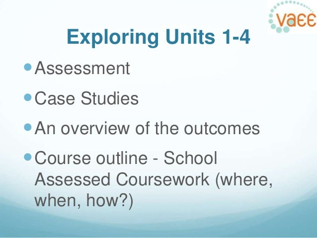 vce school assessed coursework 1 glossary of terms assessment in units 3 and 4 the student's level of achievement is determined by a combination of school-assessed coursework (sacs), school- assessed tasks (sats) and examinations.