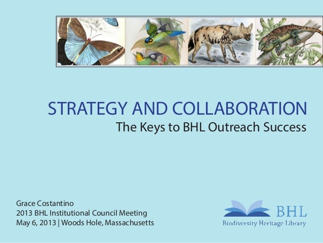 STRATEGY AND COLLABORATIONThe Keys to BHL Outreach SuccessGrace Costantino2013 BHL Institutional Council MeetingMay 6, 201...