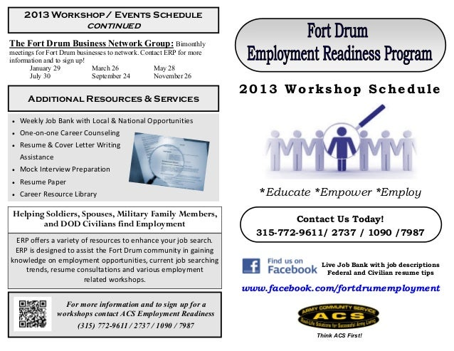 2013 Workshop/ Events Schedule                          continuedThe Fort Drum Business Network Group: Bimonthlymeetings f...