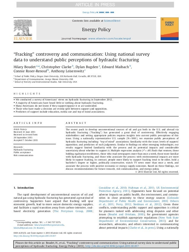 Survey of Fracking Controversy and Communication in Energy Policy Journal
