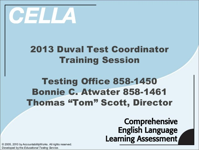 2013 Duval Test Coordinator                            Training Session                       Testing Office 858-1450     ...