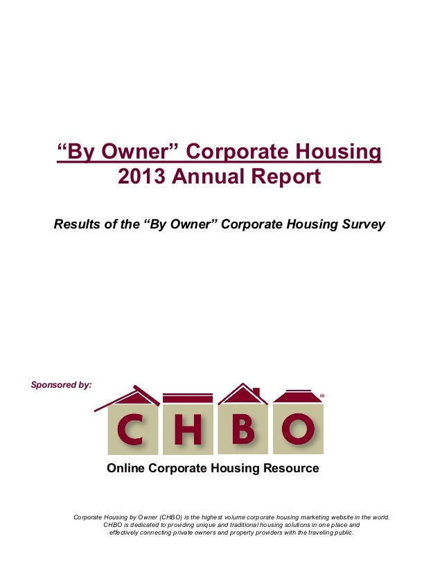 """2013 CHBO 'By Owner"""" Corporate Housing Annual Report"""