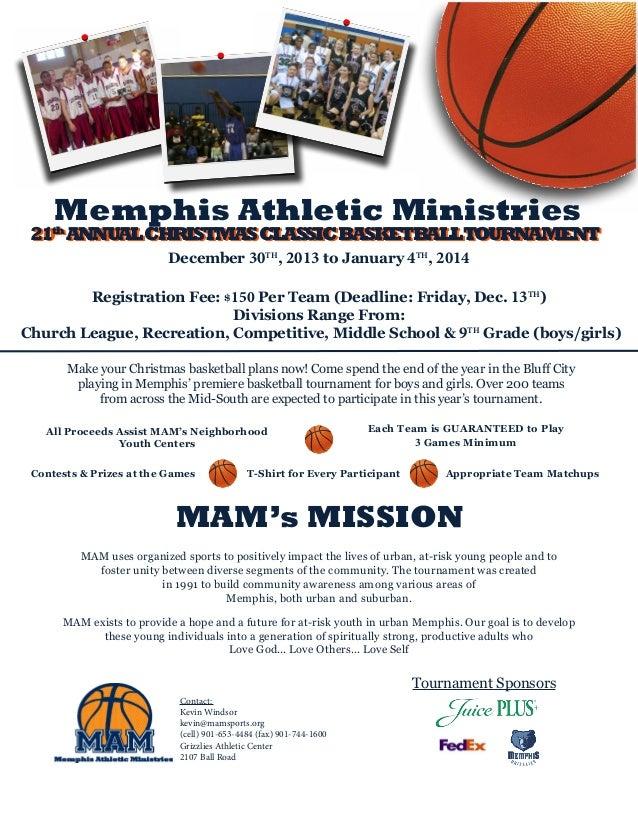 Memphis Athletic Ministries  21th ANNUAL CHRISTMAS CLASSIC BASKETBALLTOURNAMENT 20th ANNUAL CHRISTMAS CLASSIC BASKETBALLTO...