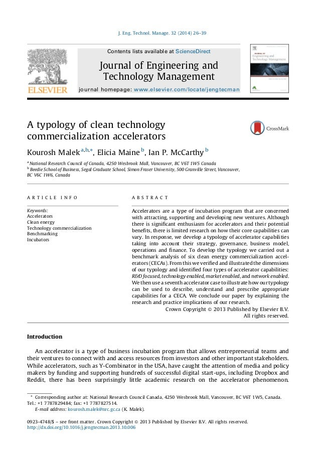A typology of clean technology commercialization accelerators