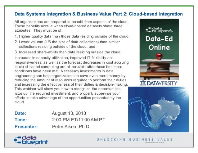 Copyright 2013 by Data Blueprint Data Systems Integration & Business Value Part 2: Cloud-based Integration All organizatio...