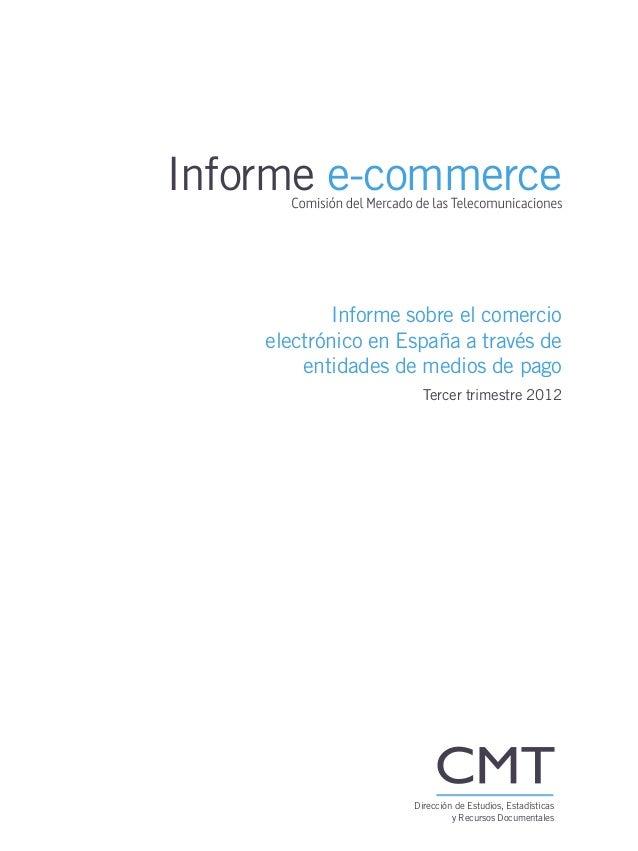 Informe comercio electrónico en España 3º trimestre 2012