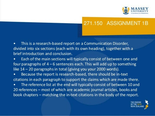 271.150 ASSIGNMENT 1B• This is a research-based report on a Communication Disorder,divided into six sections (each with it...