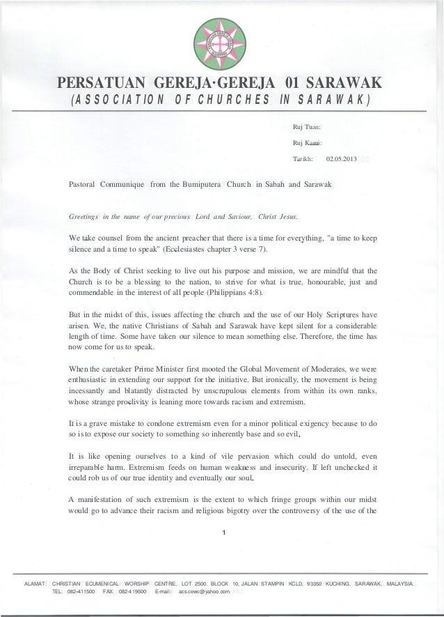 PERSATUAN GEREJA·GEREJA 01 SARAWAK(ASSOCIATION OF CHURCHES IN SARAWAK)Ruj Tuan:Ruj Kami:Tarikh: 02.05.2013Pastoral Communi...