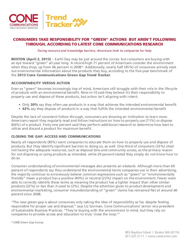 2013 cone communications green gap trend tracker press release and fact sheet