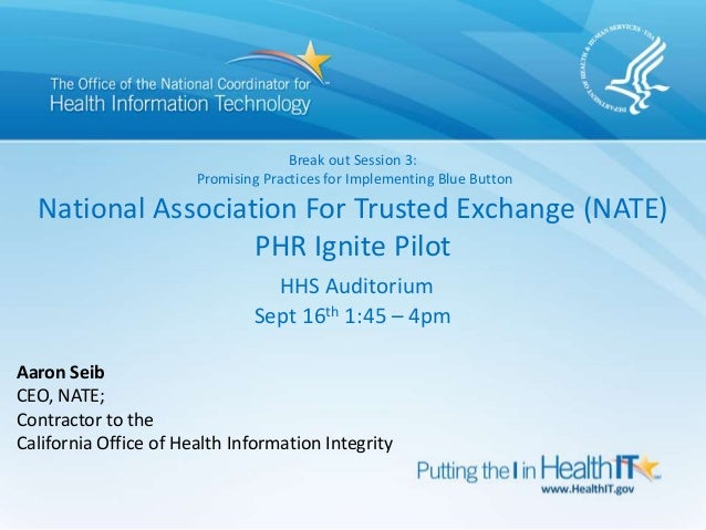 Break out Session 3: Promising Practices for Implementing Blue Button National Association For Trusted Exchange (NATE) PHR...