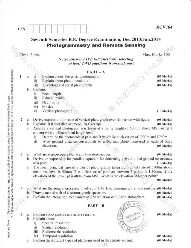 t0cv764  USN  Seventh Semester B.E. Degree Examination, Dec.2013 /Jan.20l4  Photogrammetry and Remote Sensing Time  d o o ...