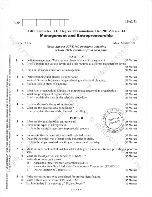 10AL51  USN  Fifth Semester B.E. Degree Examination, Dec.2013 lJan.20l4  Management and Entrepreneurship Time: 3 hrs.  Max...