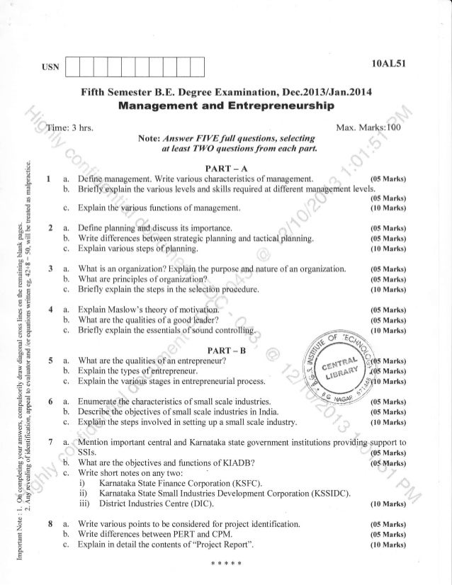 "10AL51  USN  Fifth Semester B.E. Degree Examination, Dec.2013 lJan.20l{  Management and Entrepreneurship :,,,,'  ,  ,'.t""'..."