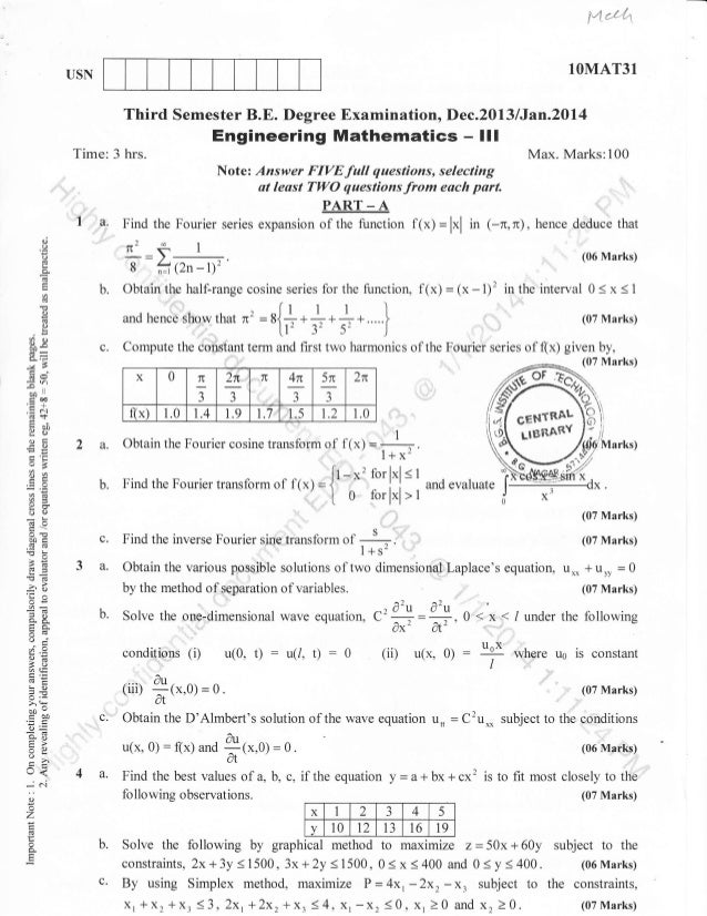 fi*.{''{,1  1OMAT31  USN  Third Semester B.E. Degree Examination, Dec.2013 lJan.2Dl4  Engineering Mathematics -  Time: 3 h...