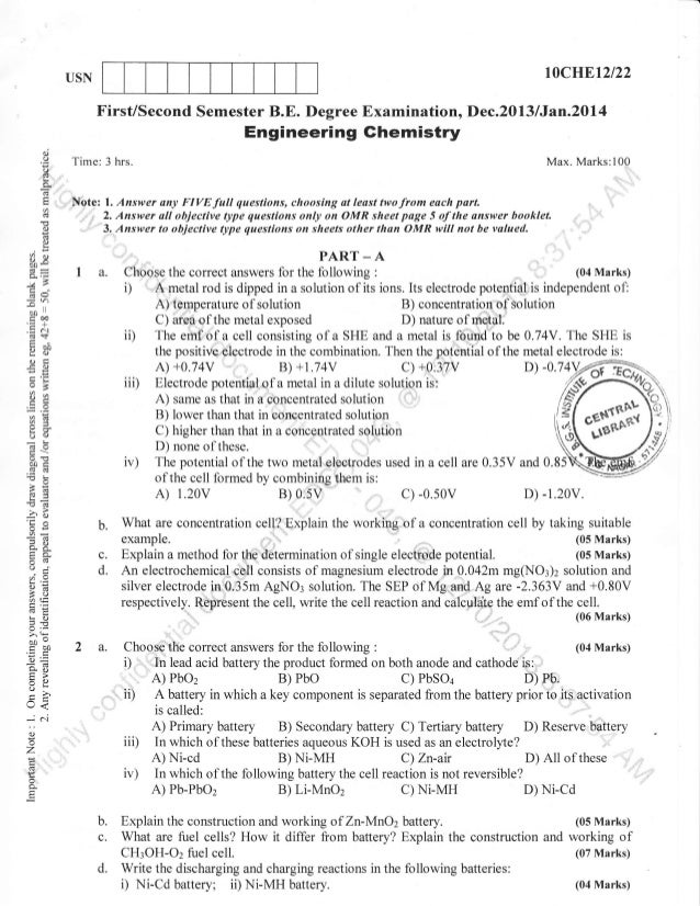 t0crJBtzt22  USN  First/Second Semester B.E. Degree Examination, Dec.2013 /Jan.2OL4  Engineering Ghemistry d O  a  Time: 3...
