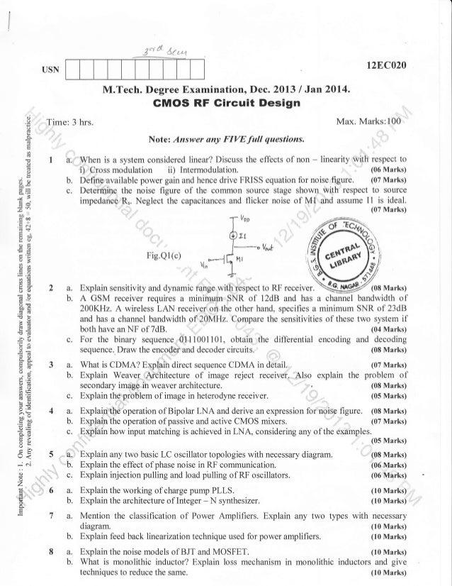 3rd Semester M Tech CMOS VLSI Design (Dec-2013) Question Papers