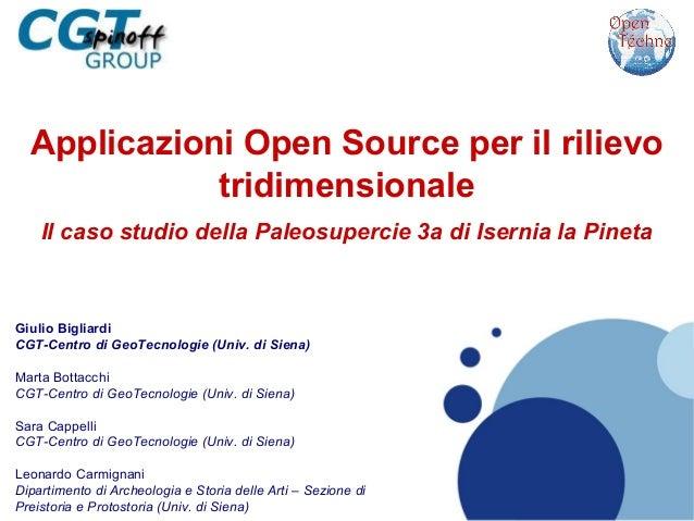 Applicazioni Open Source per il rilievo tridimensionale.  Il caso studio della Paleosuperficie 3a di Isernia la Pineta