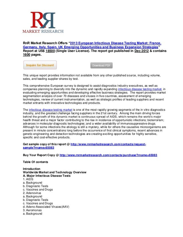 """RnR Market Research Offers """"2013 European Infectious Disease Testing Market: France,Germany, Italy, Spain, UK Emerging Opp..."""
