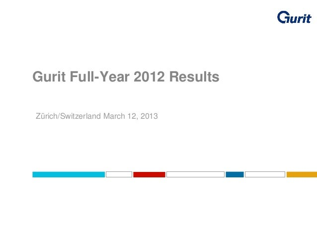 Gurit Full-Year 2012 Results