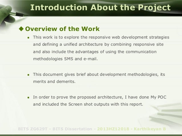 Dissertation project overview