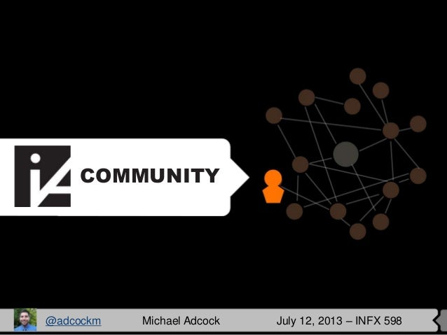 COMMUNITY @adcockm Michael Adcock July 12, 2013 – INFX 598