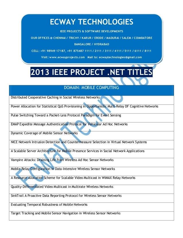 ECWAY TECHNOLOGIES IEEE PROJECTS & SOFTWARE DEVELOPMENTS OUR OFFICES @ CHENNAI / TRICHY / KARUR / ERODE / MADURAI / SALEM ...