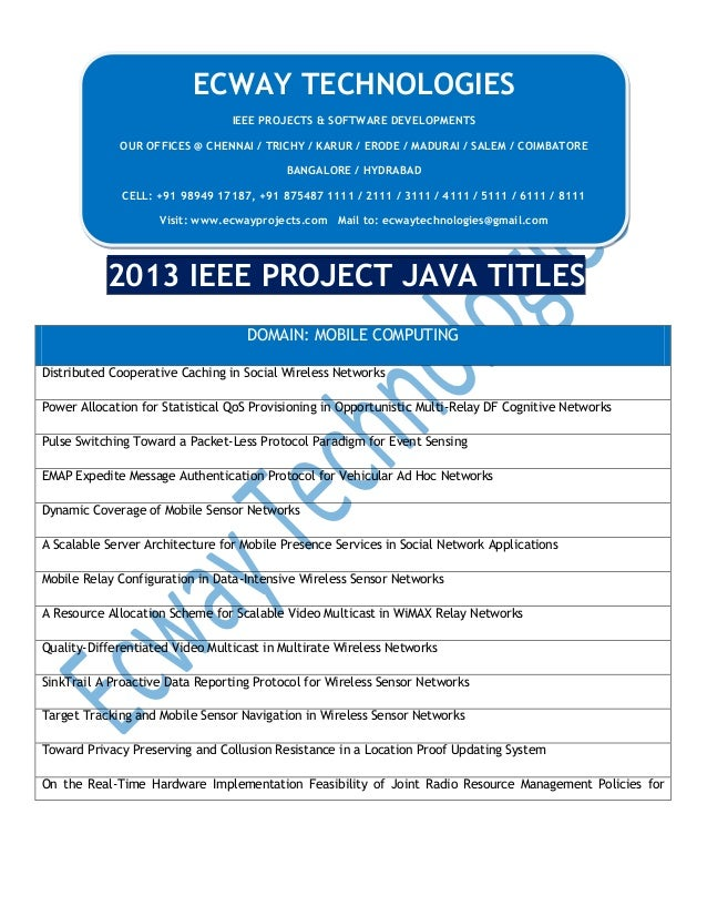 ECWAY TECHNOLOGIES IEEE PROJECTS & SOFTWARE DEVELOPMENTS OUR OFFICES @ CHENNAI / TRICHY / KARUR / ERODE / MADURAI / SALEM ...