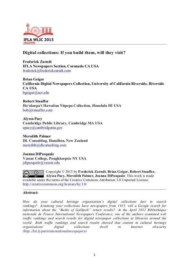 2013 ifla satellite zarndt et al [marketing cultural heritage digital collections]